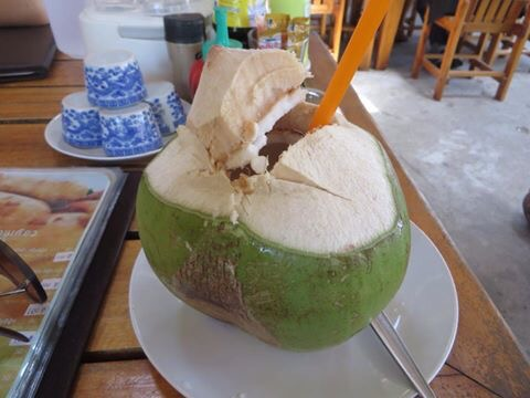 drinking out of a coconut in Thailand